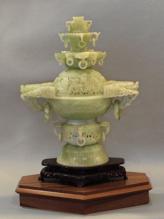 large Chinese jade/stone censer