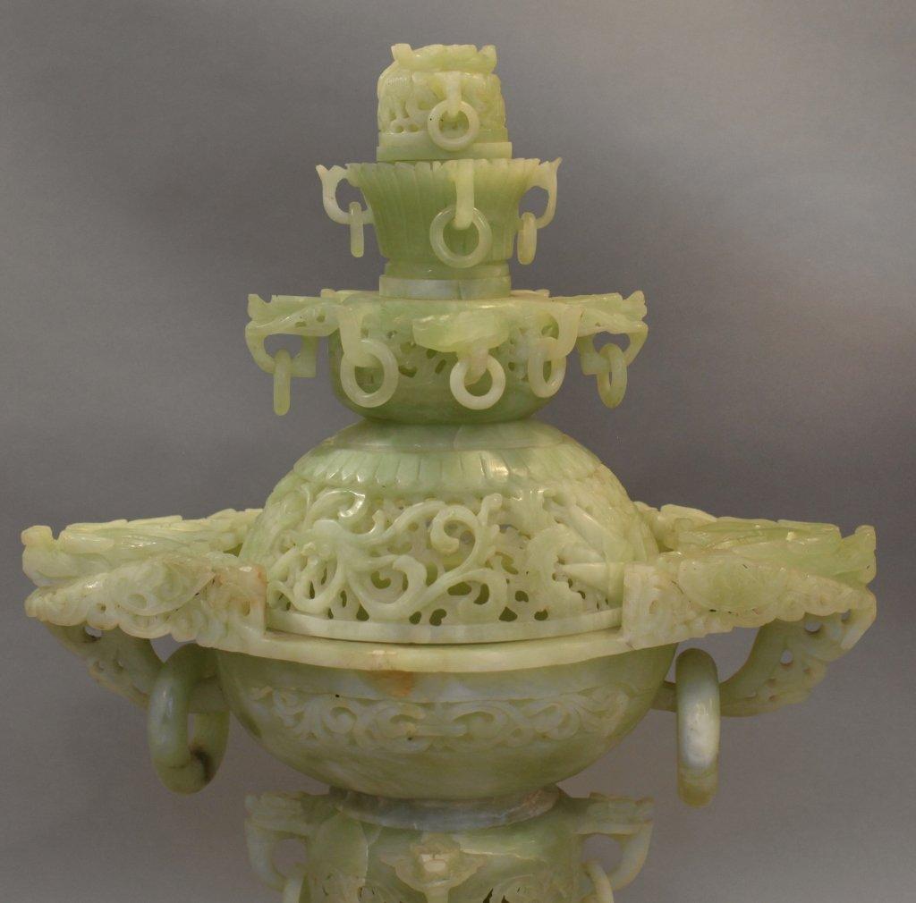 large Chinese jade/stone censer - 4