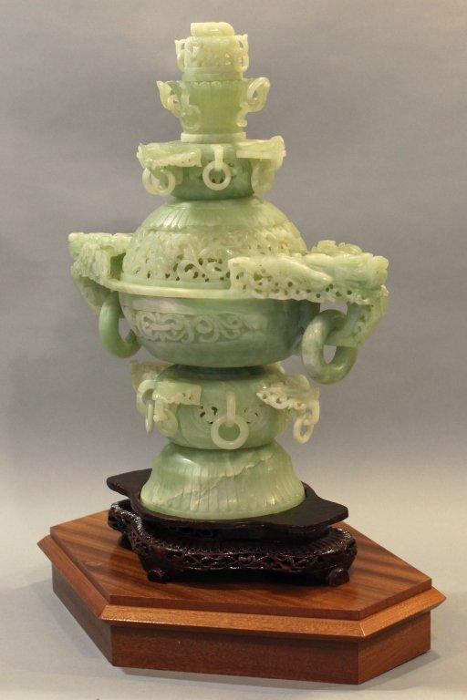 large Chinese jade/stone censer - 3