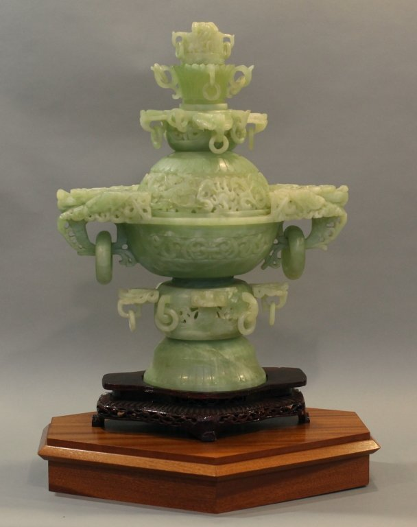 large Chinese jade/stone censer - 4