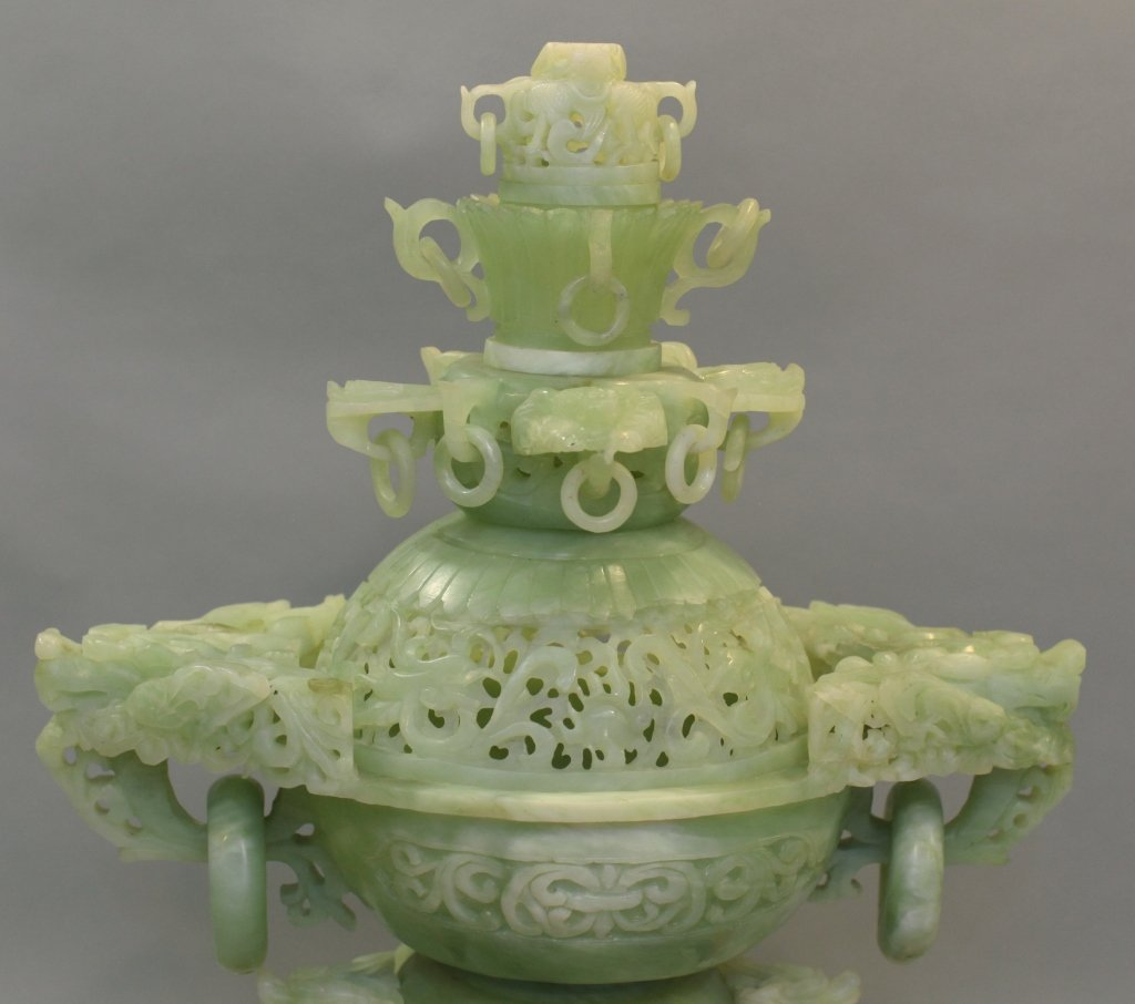 large Chinese jade/stone censer - 5