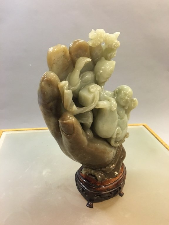 Chinese nephrite celadon jade carving