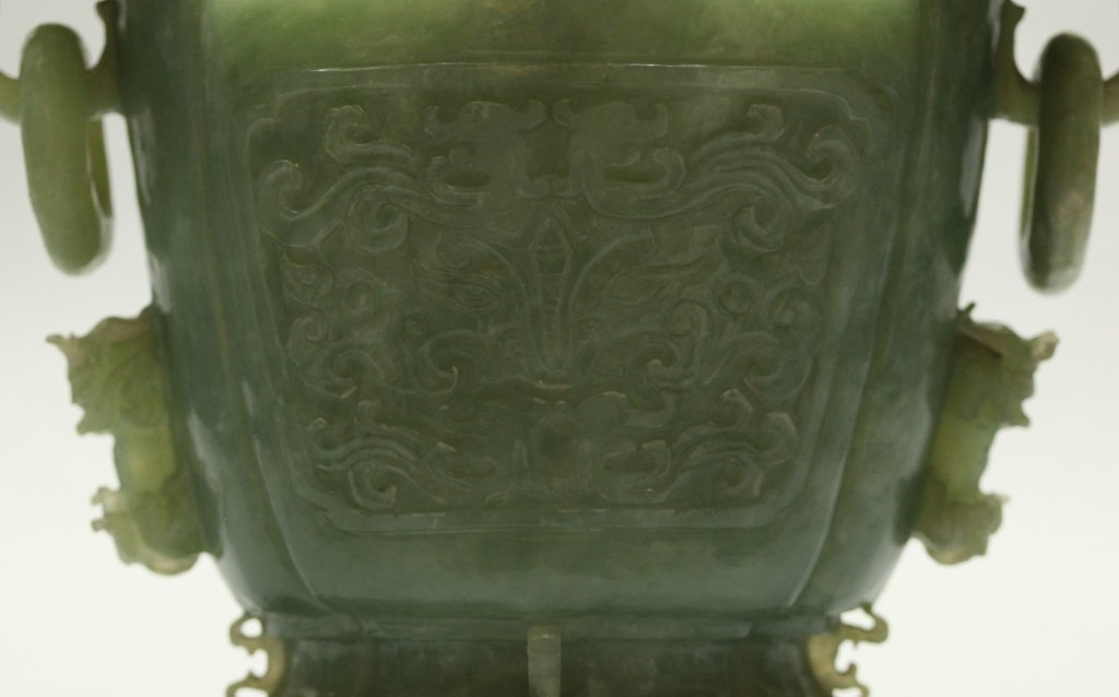 carved Chinese jade/stone cover vase - 3