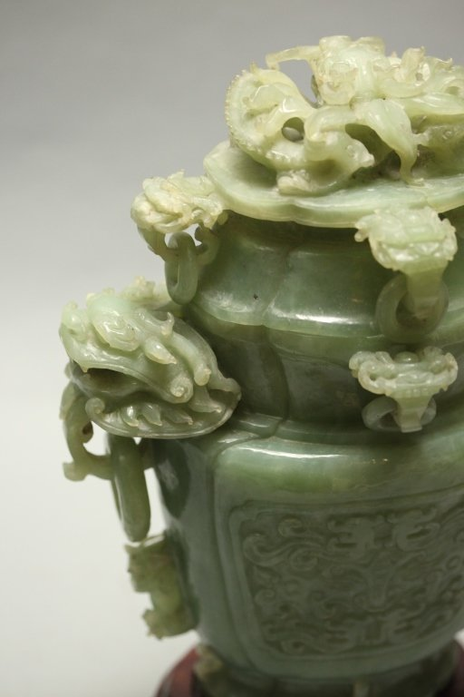 carved Chinese jade/stone cover vase - 4
