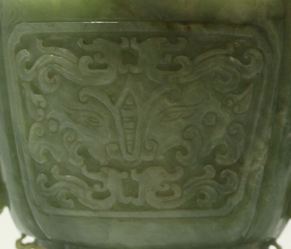 carved Chinese jade/stone cover vase - 6
