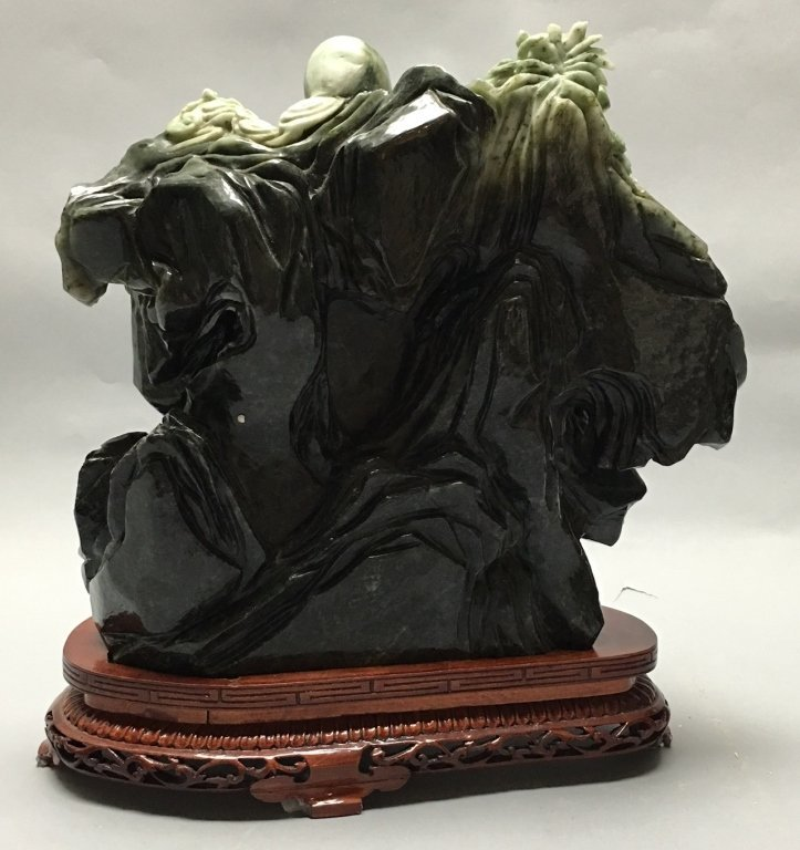 Chinese jade/stone carving of an immortal w/ child - 4