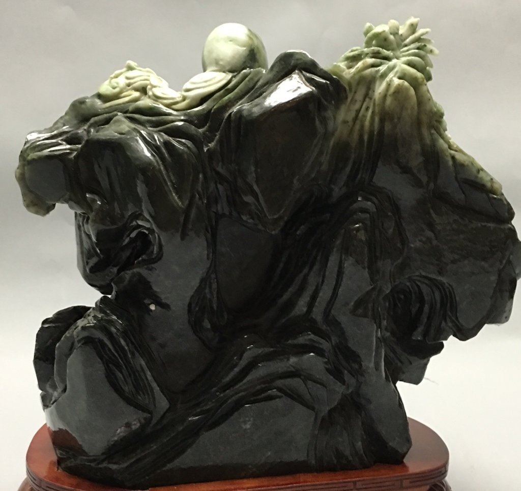 Chinese jade/stone carving of an immortal w/ child - 5