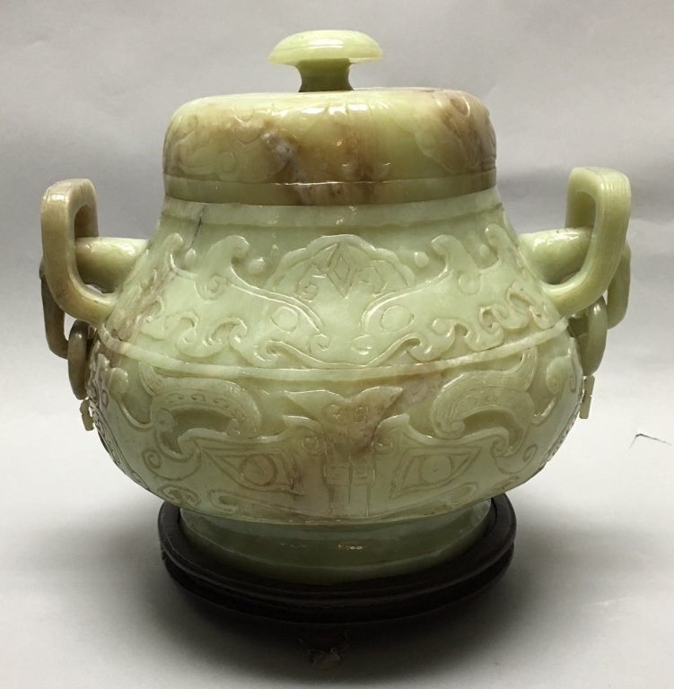 large Chinese nephrite jade jar w/ cover