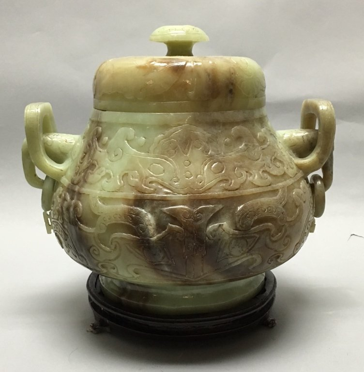 large Chinese nephrite jade jar w/ cover - 3