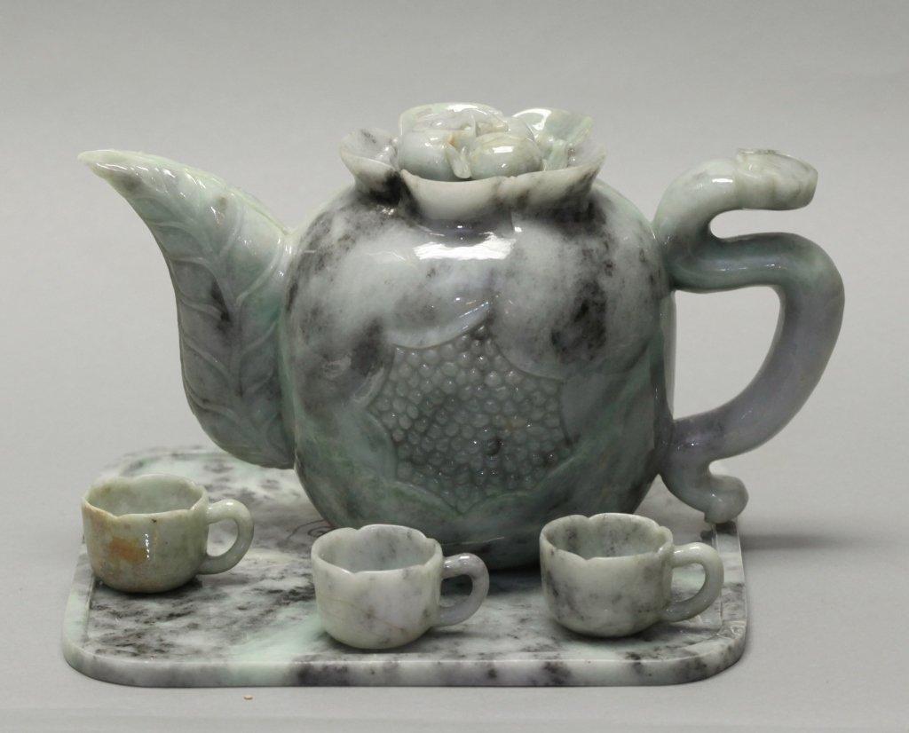 Chinese jadeite teapot set