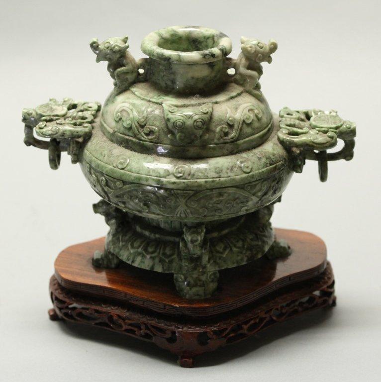 Chinese mottled green jade/stone censer