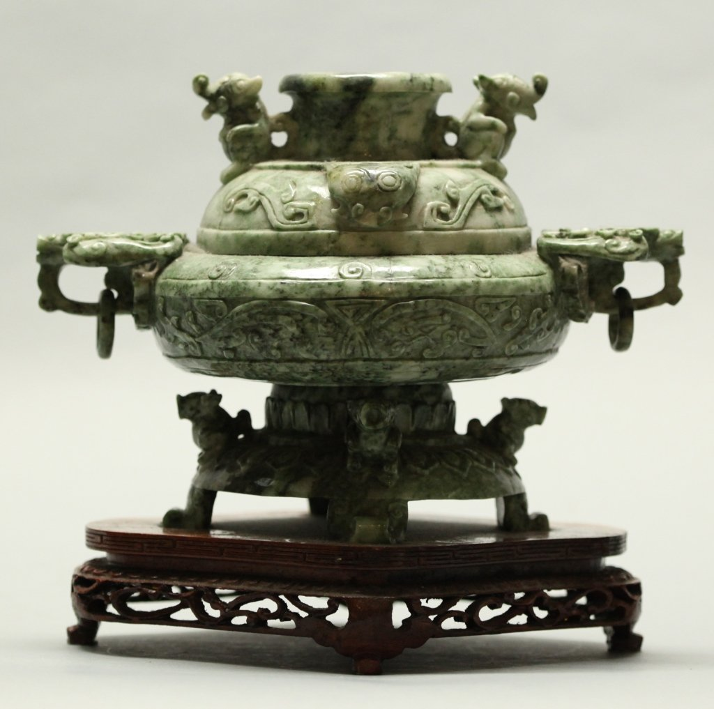 Chinese mottled green jade/stone censer - 2