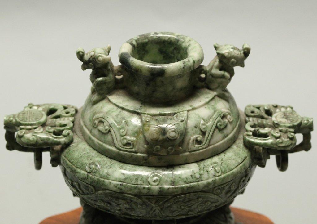 Chinese mottled green jade/stone censer - 3