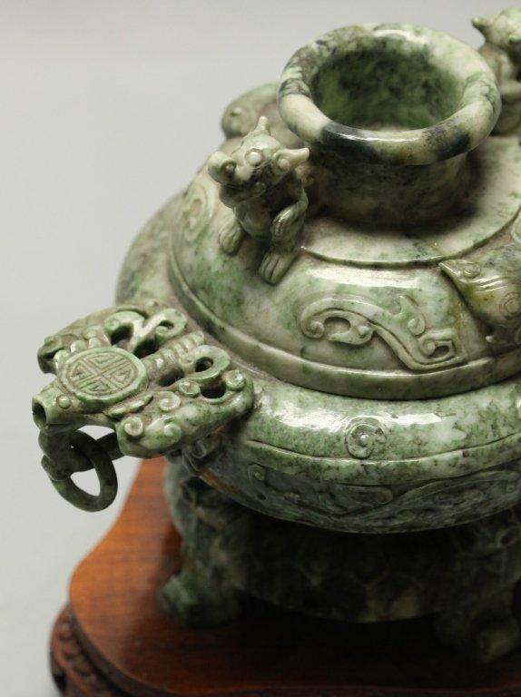 Chinese mottled green jade/stone censer - 4