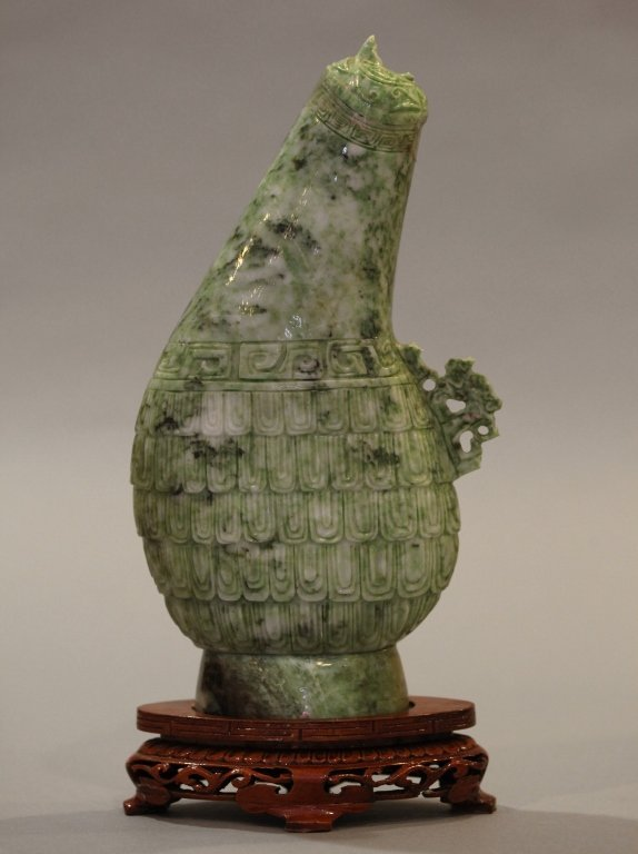 Chinese horn-shaped mottled green stone carving