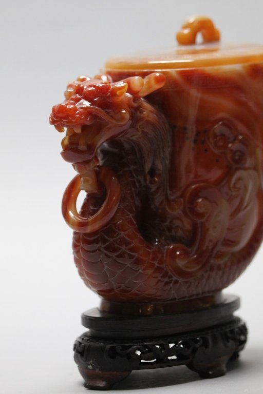 Chinese horn-shaped agate cover jar - 4
