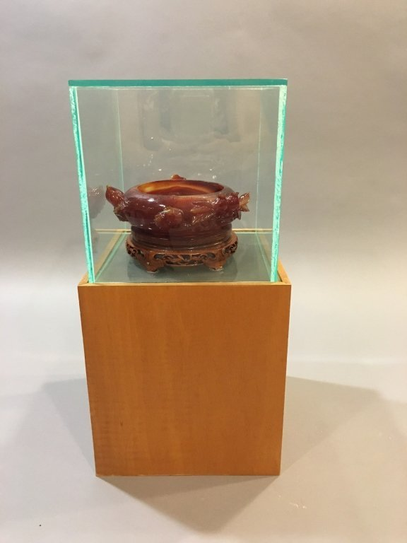Chinese deep red agate brushwasher