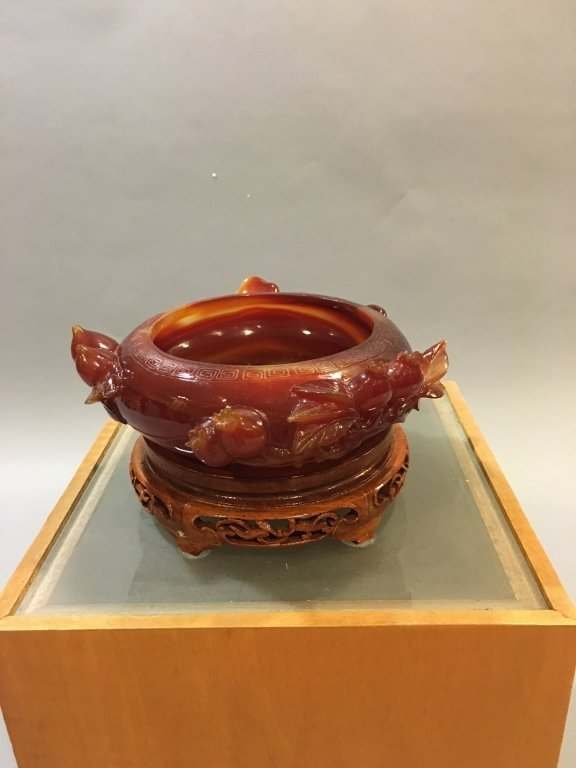 Chinese deep red agate brushwasher - 2