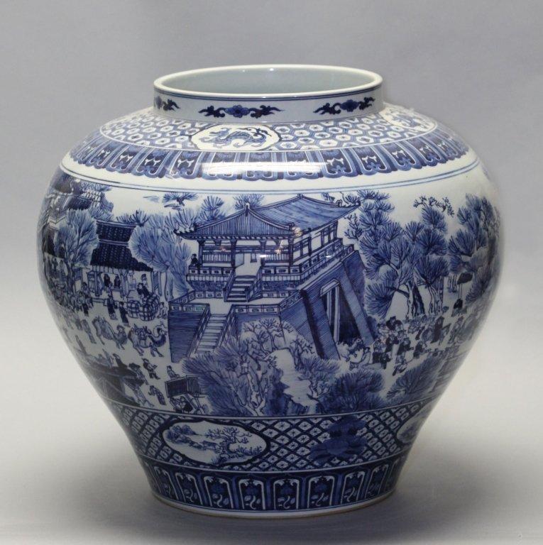 large Chinese blue & white porcelain jar