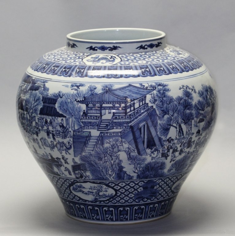 large Chinese blue & white porcelain jar