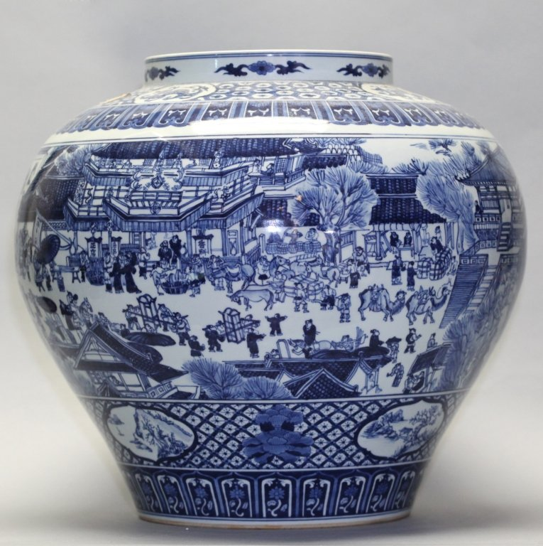 large Chinese blue & white porcelain jar - 2
