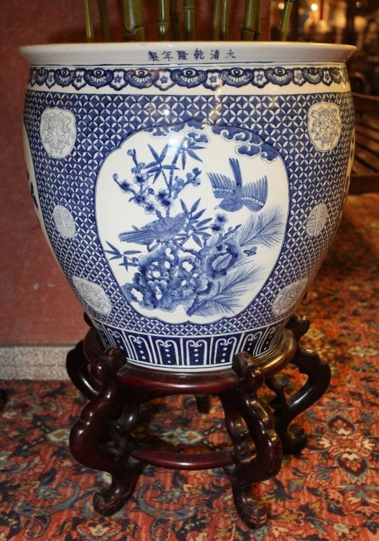 pair of Chinese blue & white porcelain fishbowls - 5