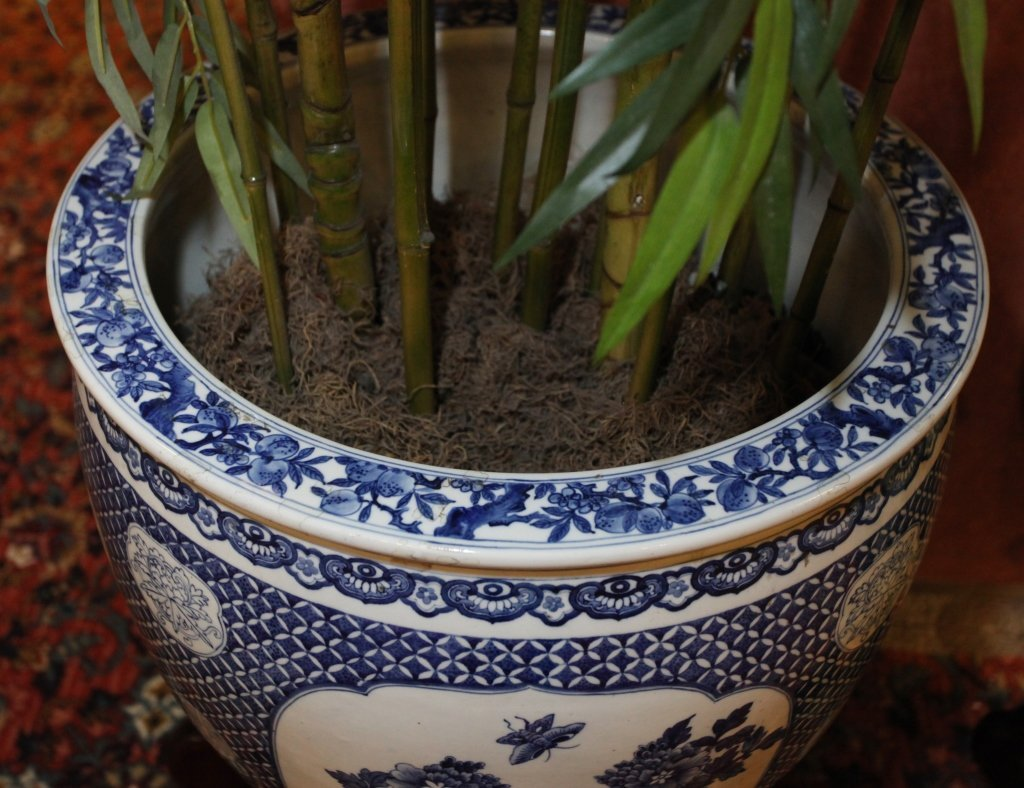 pair of Chinese blue & white porcelain fishbowls - 8