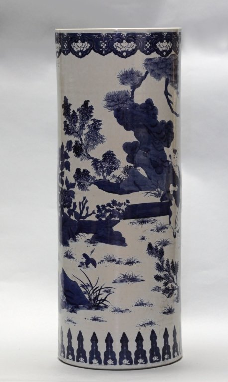 Chinese blue & white porcelain umbrella stand - 4