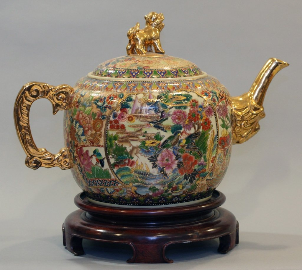 large Chinese multicolor porcelain teapot
