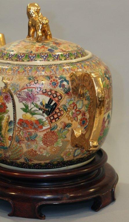 large Chinese multicolor porcelain teapot - 4