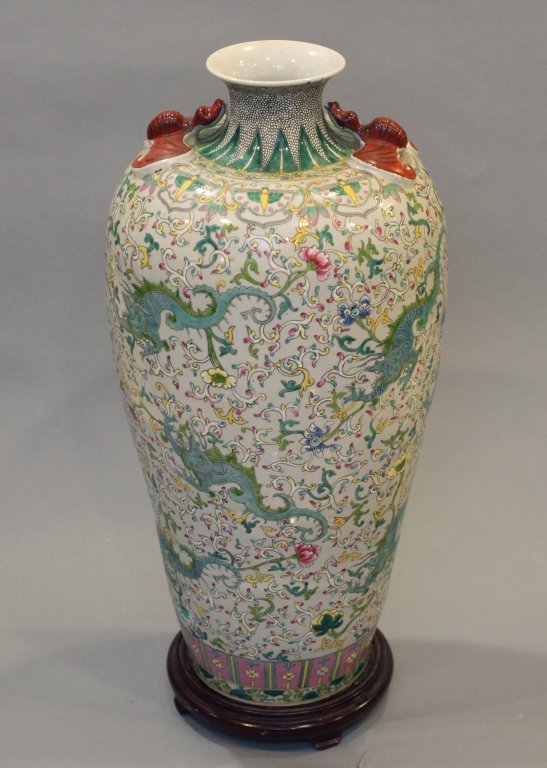 large Chinese multicolor porcelain meiping