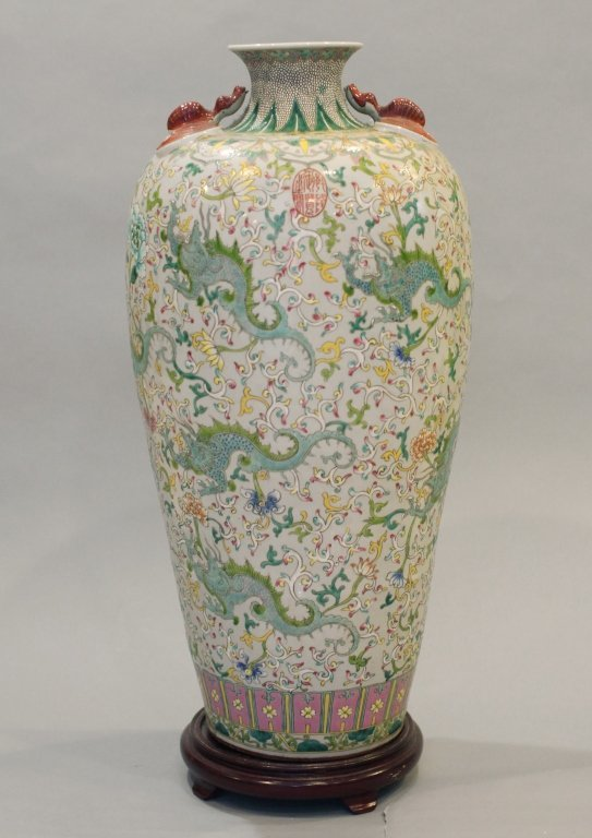 large Chinese multicolor porcelain meiping - 2