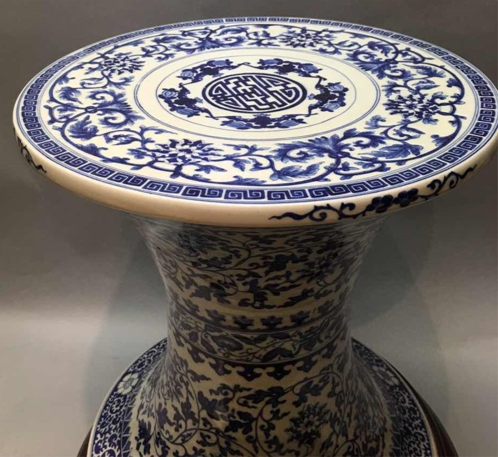 Chinese blue & white porcelain table stand - 2