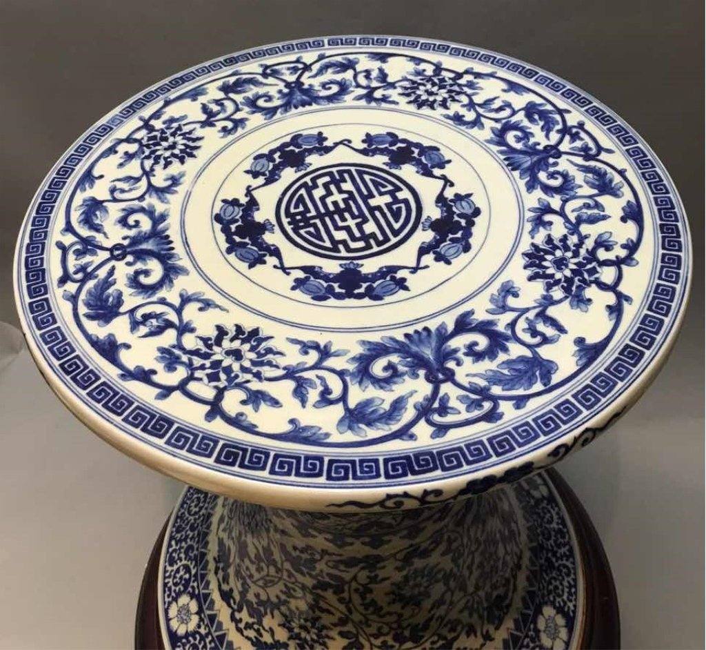 Chinese blue & white porcelain table stand - 3