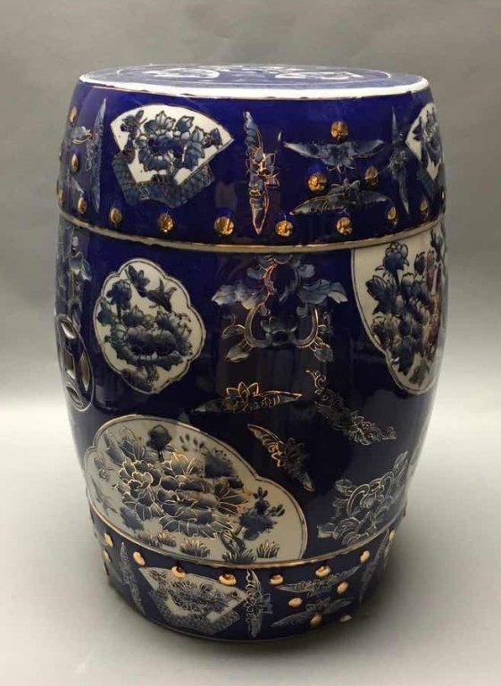 Chinese gold decorated blue & white garden seat