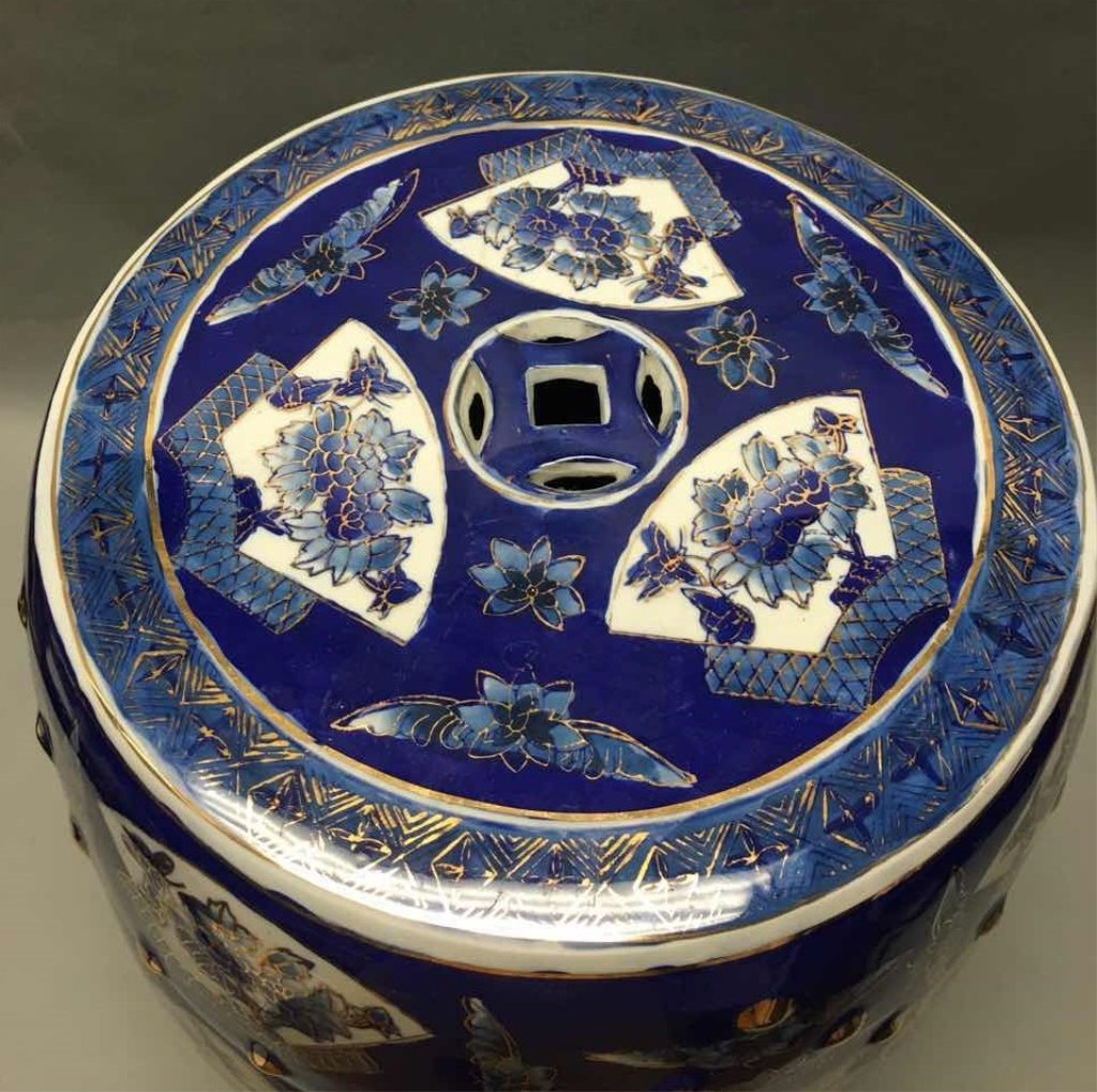 Chinese gold decorated blue & white garden seat - 3