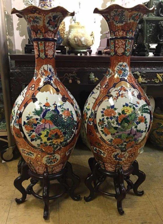 pair of massive Japanese porcelain imari vases