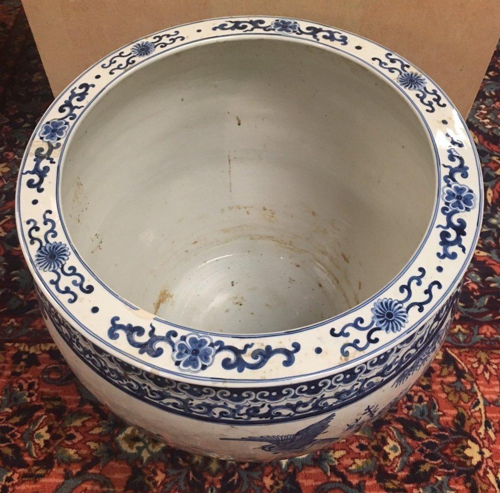 Chinese blue & white porcelain fishbowl - 3