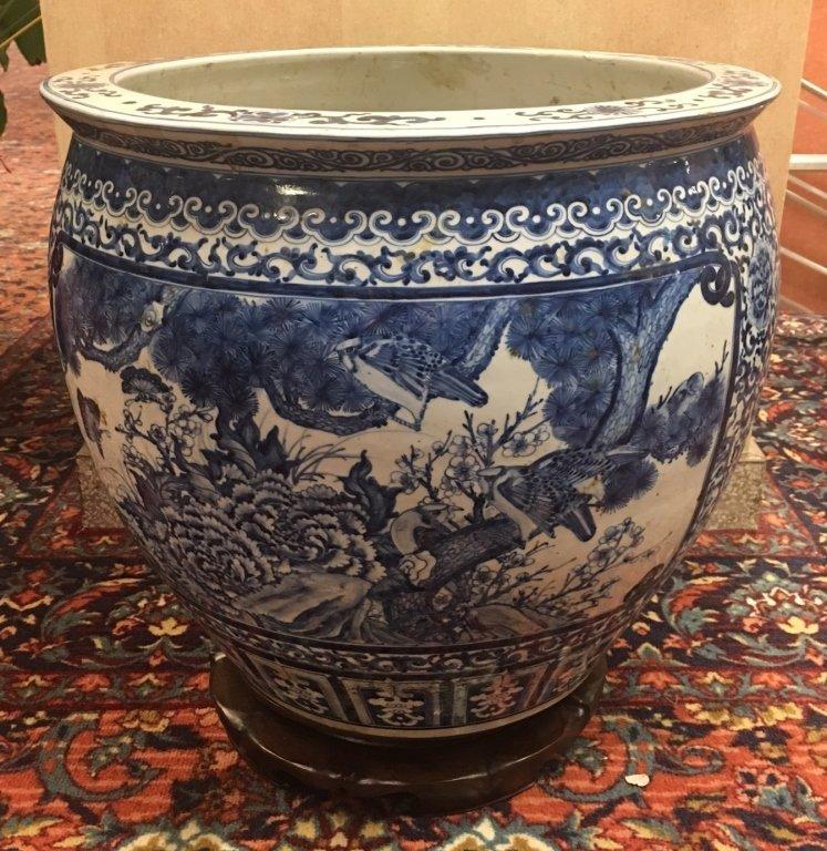 Chinese blue & white porcelain fishbowl - 4