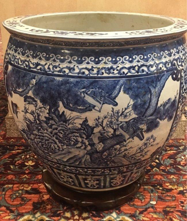 Chinese blue & white porcelain fishbowl - 5
