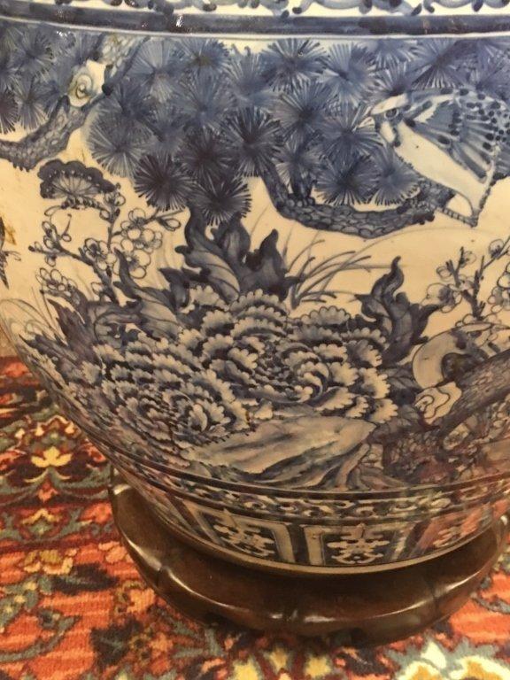 Chinese blue & white porcelain fishbowl - 6
