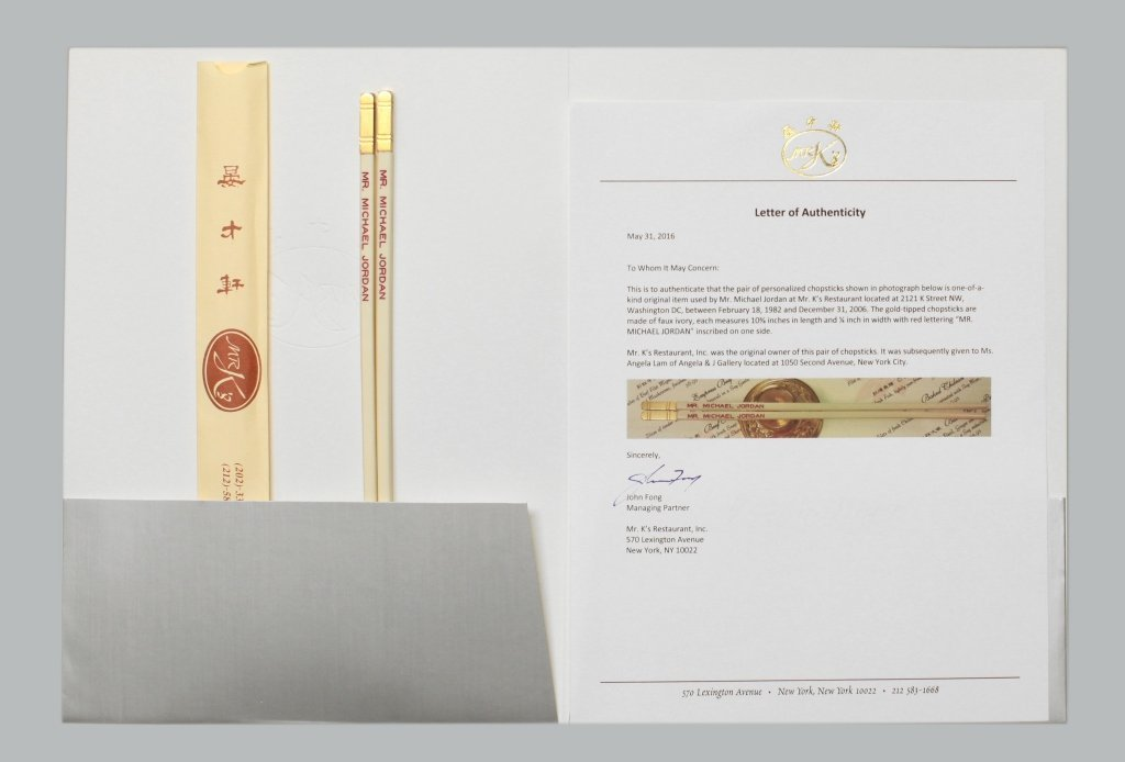 Mr. K's chopsticks made for & used by Michael Jordan