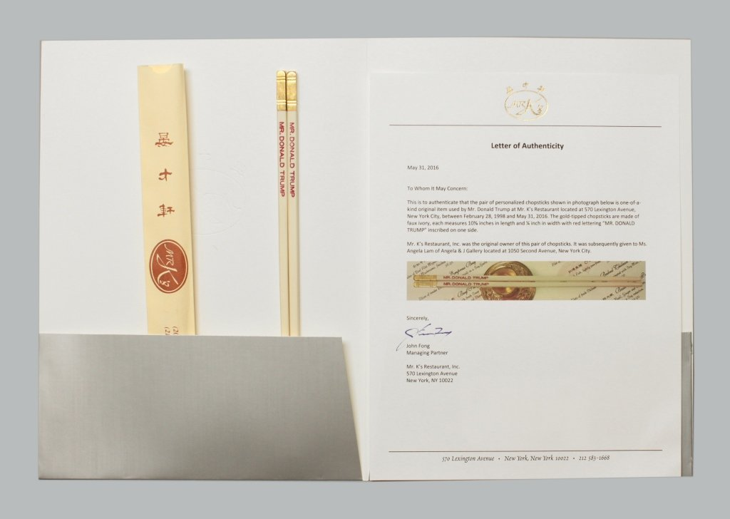 Mr. K's chopsticks made for & used by Donald Trump