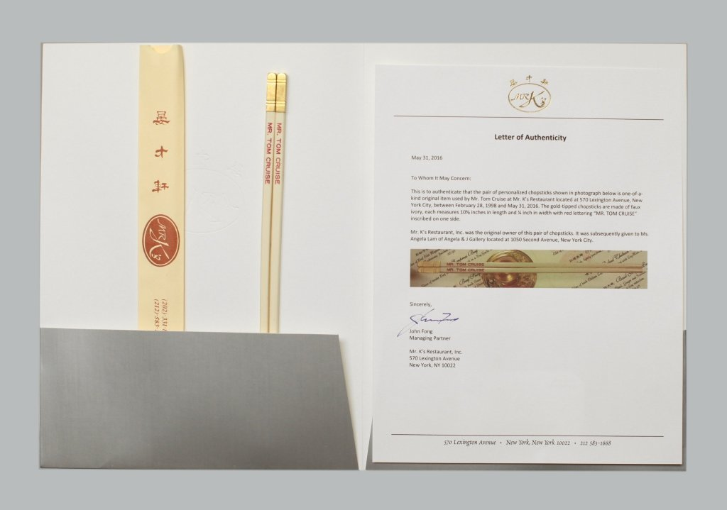 Mr. K's chopsticks made for & used by Tom Cruise
