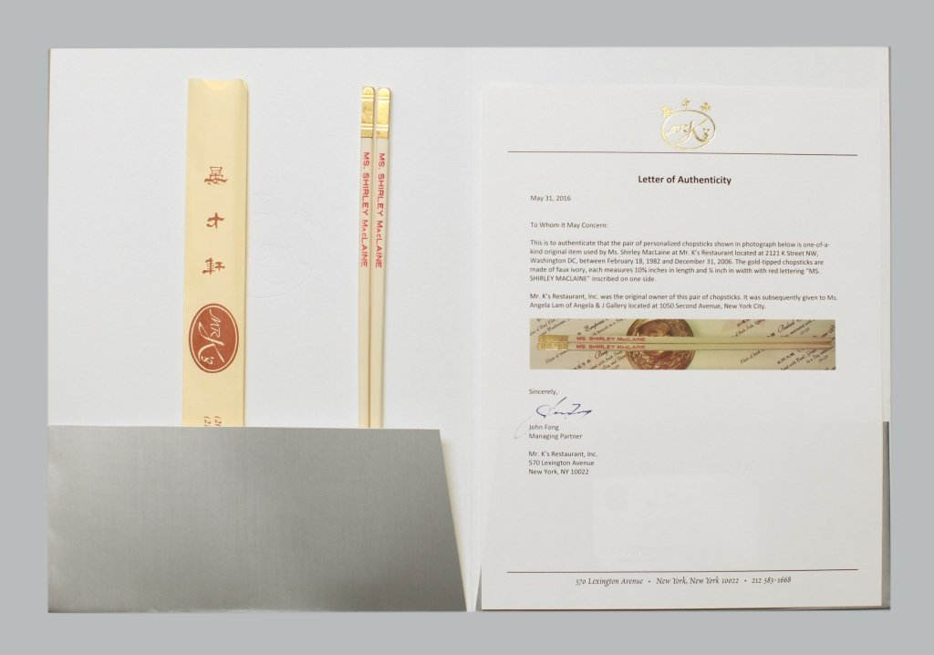 Mr. K's chopsticks made for & used by Shirley Maclaine