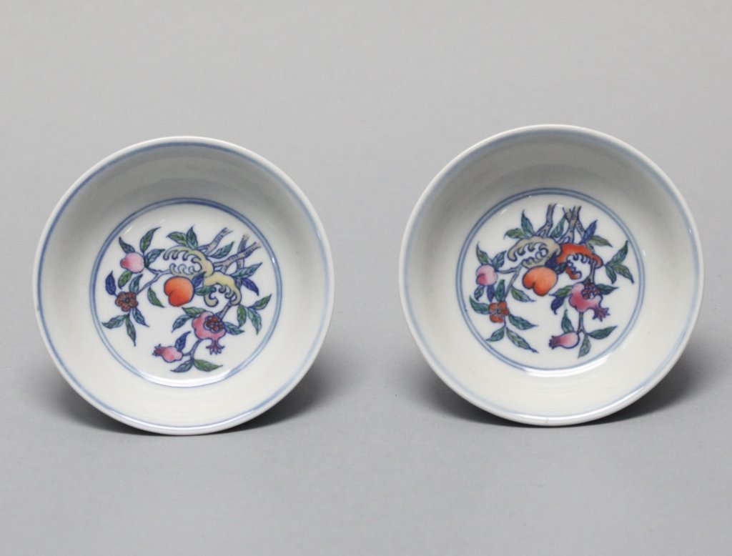 pair of Chinese porcelain doucai dishes