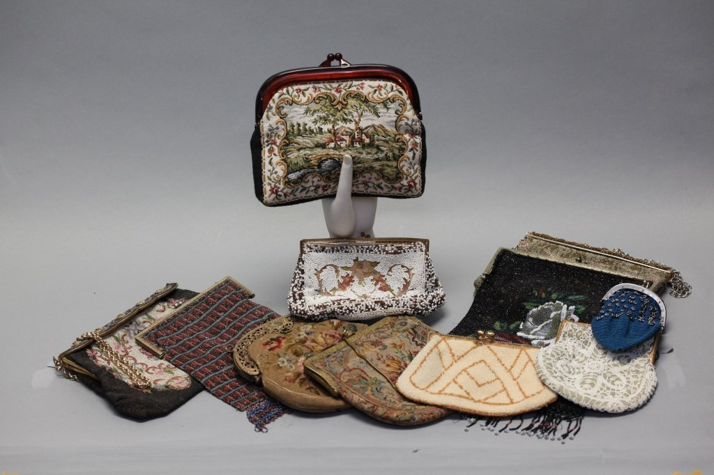 group of 11 vintage beaded/embroidered bags