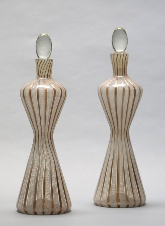 two murano glass bottles w/ stoppers