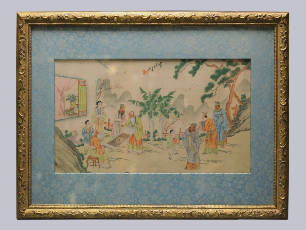 framed Chinese painting on silk