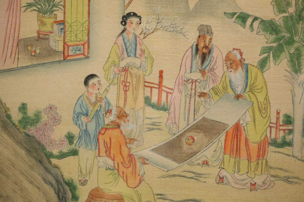 framed Chinese painting on silk - 2